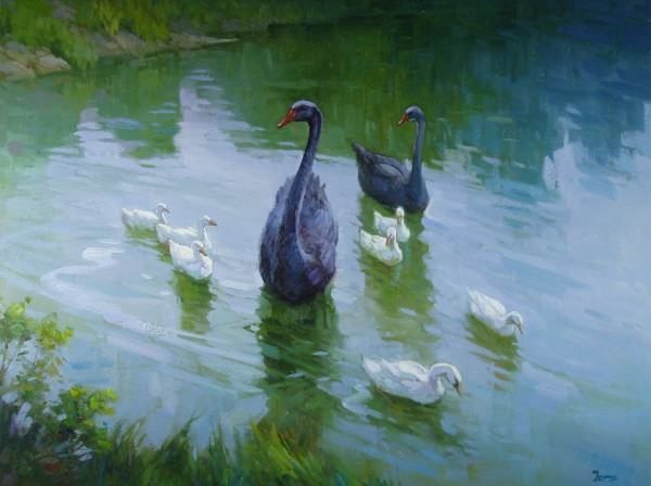 Trauerschwanfamilie