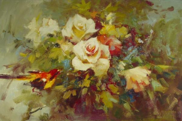 Arrangement mit Blumen und Vogel