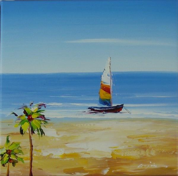 Segelboot mit Palme