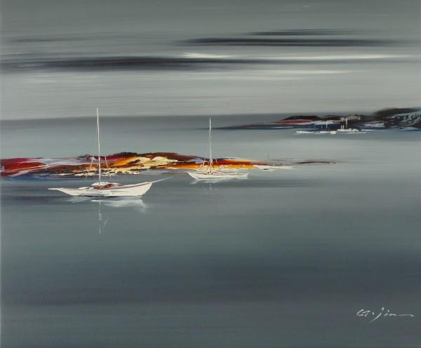 Abstrahierte Segelboote und Küste