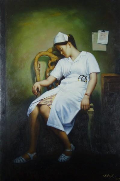 Erschöpfte Krankenschwester