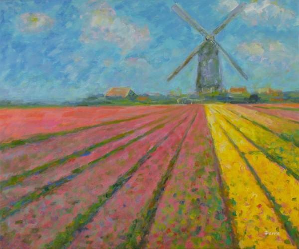Windmühle und Felder