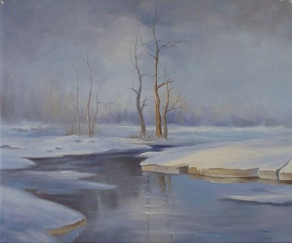 Winterlandschaft mit Bach