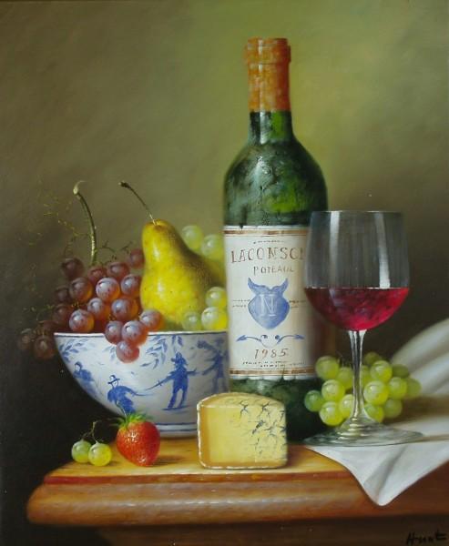 Stillleben mit Wein und Käse
