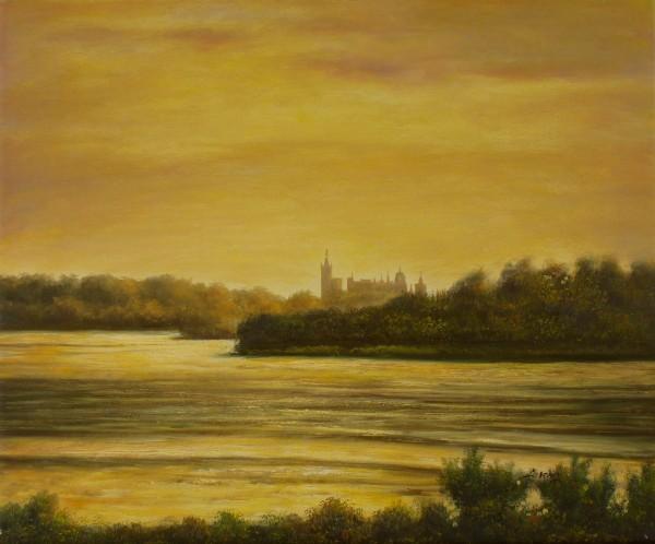Schweriner Schloss am Abend