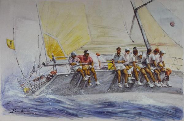 Segelboot mit Mannschaft