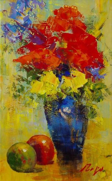Stillleben mit Blumen und Äpfeln