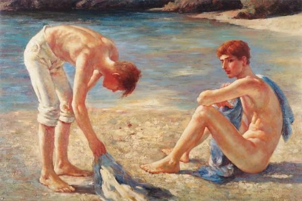 Zwei Knaben am Strand